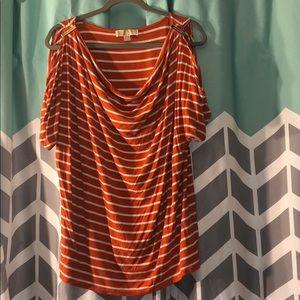 Michael kors orange striped cold shoulder shirt
